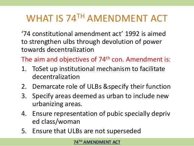 73rd and 74th Constitutional Amendments