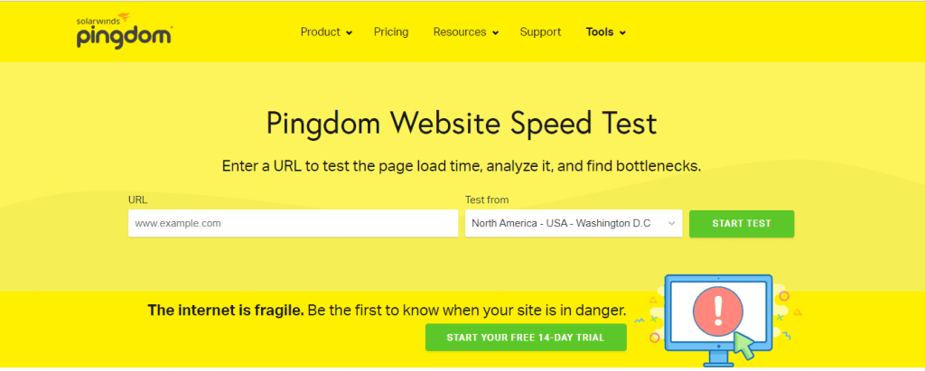 Interface of Pingdom Tools
